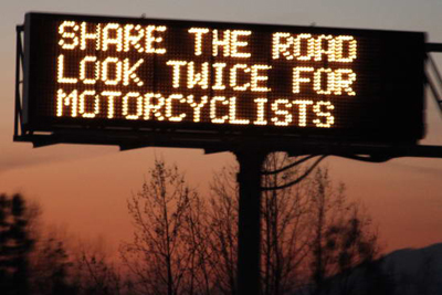 California Electronic Sign with Motorcycle Awareness Message