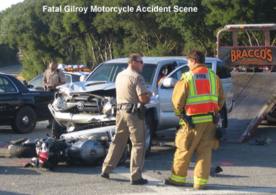 The scene of a fatal motorcycle accident in Gilroy, California