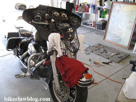 Norm's Harley Davidson Electra Glide with front fairing removed.