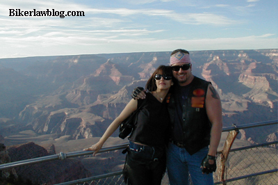 Biker Motorcycle Lawyer Attorney Norman Gregory Fernandez with Fiance at the Grand Canyon