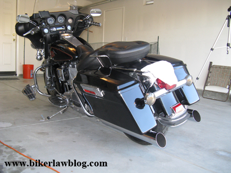 California Motorcycle Accident Attorney and Biker Lawyer Norman Gregory Fernandez's Halrey Davidson Electra Glide with Rush Mufflers