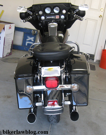 California Motorcycle Accident Attorney and Biker Lawyer Norman Gregory Fernandez's Halrey Davidson Electra Glide with Rush Mufflers 2