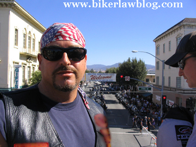 California motorycle lawyer attorney Norman Gregory Fernandez at the Hollister Motorcycle Rally