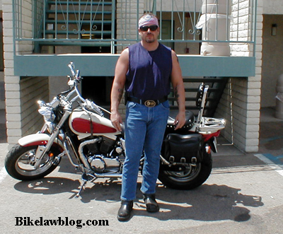 Biker and Motorycle Lawyer Attorney Norman Gregory Fernandez in Kingman, Arizona on the way to the Grand Canyon