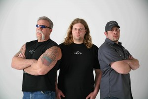 Guys from American Chopper, Paul Sr., Mikey, and Paul Jr.