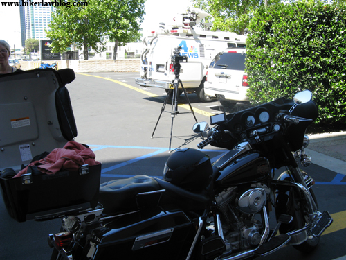 Norman's Harley Davidson Electra Glide in the NBC Parking Lot before action shots were taken