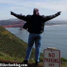 California Biker Lawyer and Motorcycle Attorney Norman Gregory Fernandez North of the Golden Gate Bridge