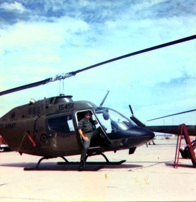 California Motorcycle Accident Lawyer Norman Gregory Fernandez sitting in a Helicopter on the Flight Line at Sheppard Air Force Base, June 1981