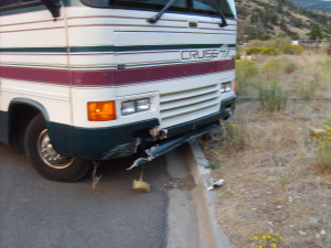 The front bumper on my RV after the accident