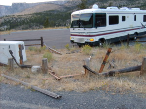 The scene of my RV accident on US-14 above Greybull, Wyoming in the Big Horn National Forest