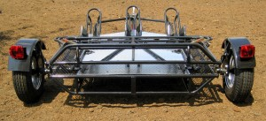 Trinity 3 Motorcycle Trailer in the Folded Position