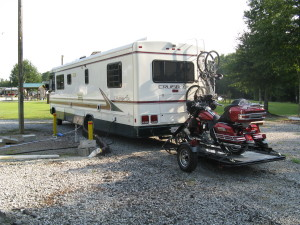 Another view of the Trinity 3 motorcycle trailer with my Electra Glide