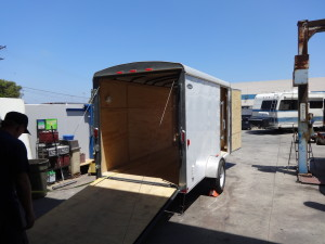 My cargo trailer at the shop before customization