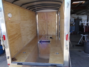 Inside of enclosed motorcycle trailer after phase 1 upgrades