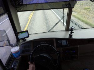 A view from inside my RV somewhere in Wyoming on the way to the Sturgis 2013 Motorcycle Rally
