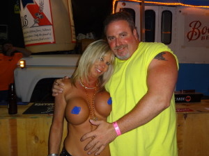 My new friend Kim, Sturgis 2013, pasties were added later with photoshop