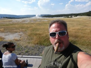 Biker Lawyer Norman Gregory Fernandez at Old Faithful in Yellowstone, 8-2013
