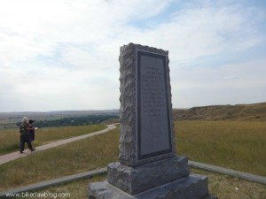 The Monument Marker on the top of Last Stand Hill