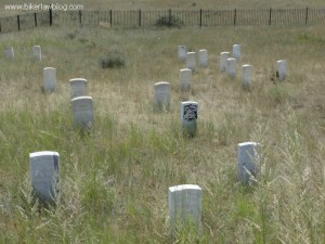 The grave markers at Last Stand Hill, Custer's is the black one