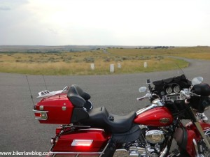 My Harley Davidson Electra Glide amonst the grave markers at The grave markers at the Little Bighorn