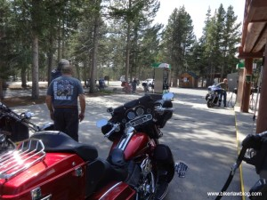 My Harley Electra Glide in Yellowstone at gas station