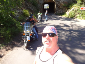 Biker lawyer Norman Gregory Fernandez in Custer national Park, Sturgis 2015