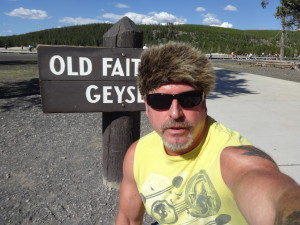California biker attorney Norman Gregory Fernandez at the Old Faithful geyser in Yellowstone national forest just after Sturgis 2015