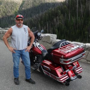 www.injuredbikers.com founder and Motorcycle Accident Lawyer Norman Gregory Fernandez in the Yellowstone National Forest