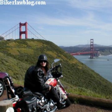 Alameda Motorcycle Accident Lawyer Norman Gregory Fernandez's special friend Elizabeth next to Golden Gate Bridge