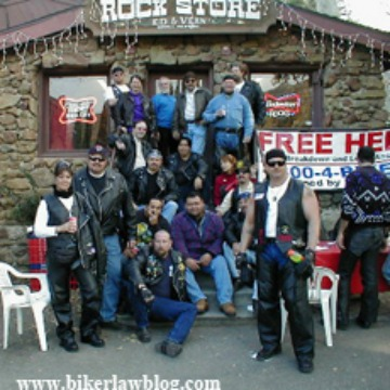 California Biker Lawyer Norman Gregory Fernandez with group of motorcycle riders at the Rock Store