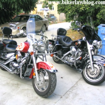 Concord Motorcycle Accident Lawyer Norman Gregory Fernandez displays his motorcycles in 2005