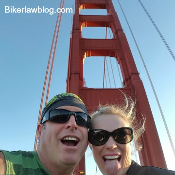 Elk Grove Motorcycle Accident Lawyer Norman Gregory Fernandez with friend Lena at the Golden Gate Bridge, San Francisco