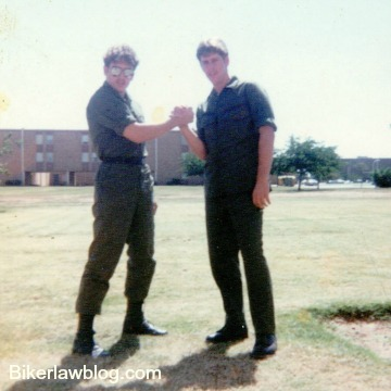 Fountain Valley motorcycle accident lawyer norman gregory fernandez with friend tom at sheppard air force base texas