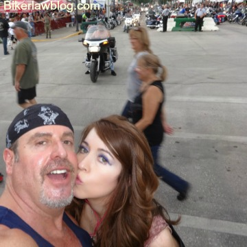 Hawthorne motorcycle accident lawyer with special friend helena at the 2015 sturgis motorcycle rally