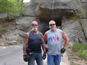 Biker Lawyer Norman Gregory Fernandez and Brian in Custer State Park