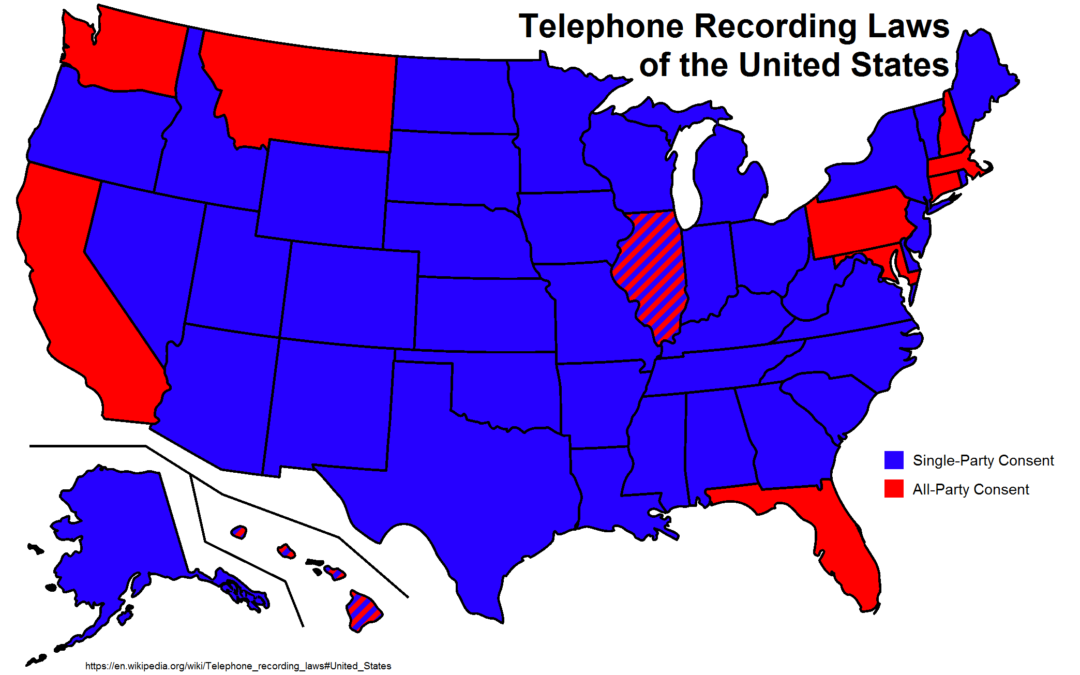 In California it is illegal to record somebody on the telephone without their permission