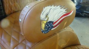 Closeup of the custom embroidery gy Russell Motorsports on backrest
