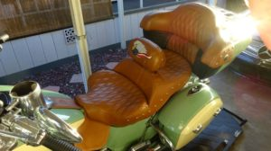 Picture of Russell Day Long Saddle with Russell custom embroidered backrest