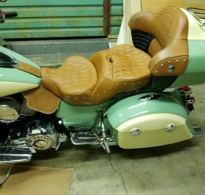 Side view of custom Russel Day Long seat at factory